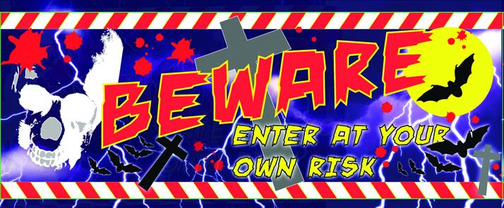 beware halloween banner tape