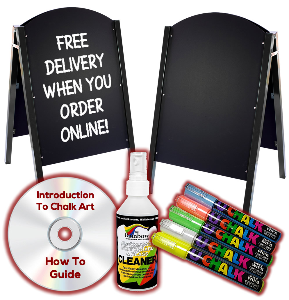 Metal A Frame Chalkboard Package