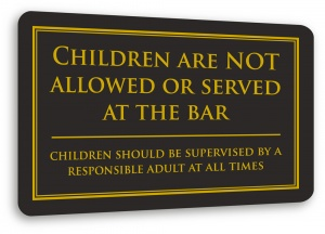 No Children at Bar Sign