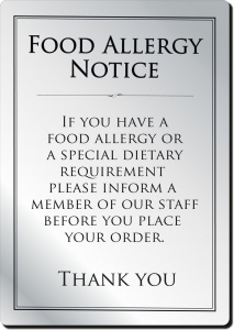 Food Allergy Notice Bar Sign