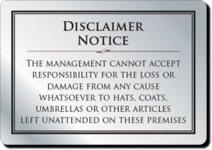 Cloakroom Disclaimer Notice
