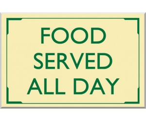 Food Served All Day External Sign