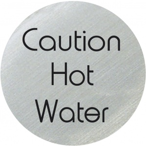 Caution Hot Water Disc Sign