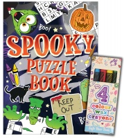 Halloween Theme Puzzle Books and Crayons Sets