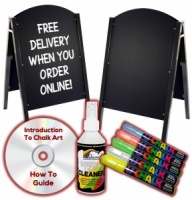 Metal A-Frame Chalkboard Package