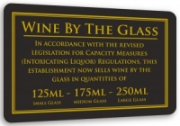 Wine By Glass Sign - 125ml, 175ml & 250ml
