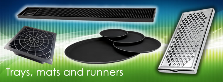 Buy bar trays, drip mats, bar runners, bar liner and other essential bar supplies for UK delivery