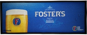 Fosters Branded Rubber Back Drip Mat Bar Runner for Pubs. Fast UK Delivery.