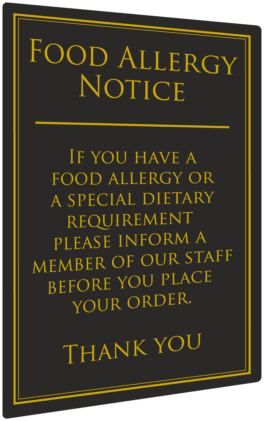 Food Allergy Notice Bar Sign
