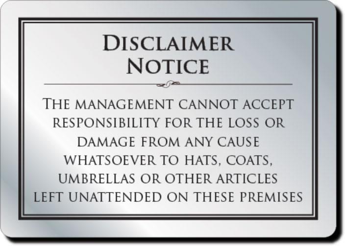 cloakroom disclaimer sign