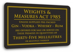 Weights & Measures Sign - 35ml