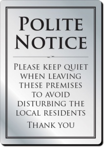 Please Leave Quietly Sign
