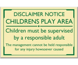 Childrens Play Area Disclaimer External Sign