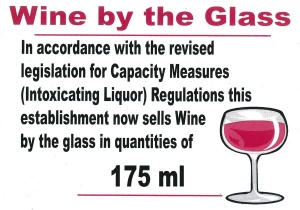 Wine By The Glass 175ml Sign